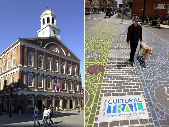 Faneuil Hall, left, is a stop on Boston's Freedom Trail. The Indianapolis Cultural Trail connects Fountain Square, Mass Ave., Indiana Avenue and White River State Park.
