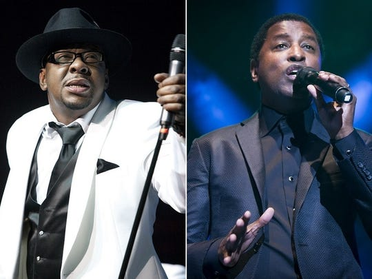 """Bobby Brown, left, first enjoyed fame as a member of New Edition. Kenny """"Babyface"""" Edmonds started his career in Indianapolis-based band Manchild."""