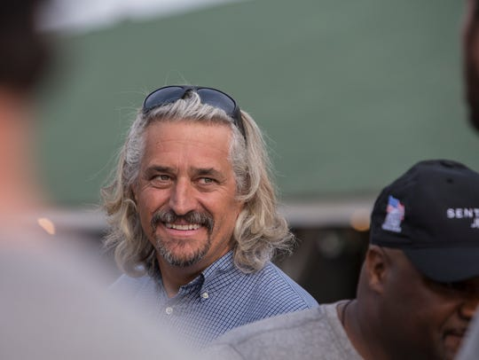 Trainer Steve Asmussen talks outside his barn at Churchill Downs ahead of the 2018 Kentucky Derby. May 3, 2018