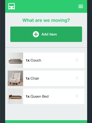 Ghostruck's app asks consumers to take photos of what they want to move and where, and instantly feeds them a price for the job based on the availability of area moving company vans.