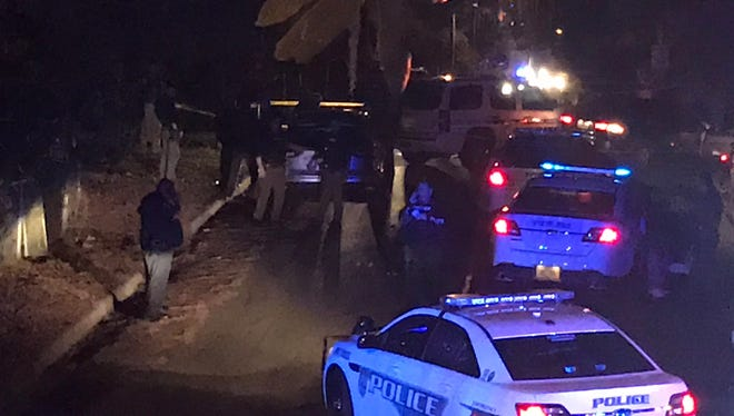 A resident who lives on the block where three suspects were arrested after Tuesday night's high speed chase took this photo from the scene of the arrest.