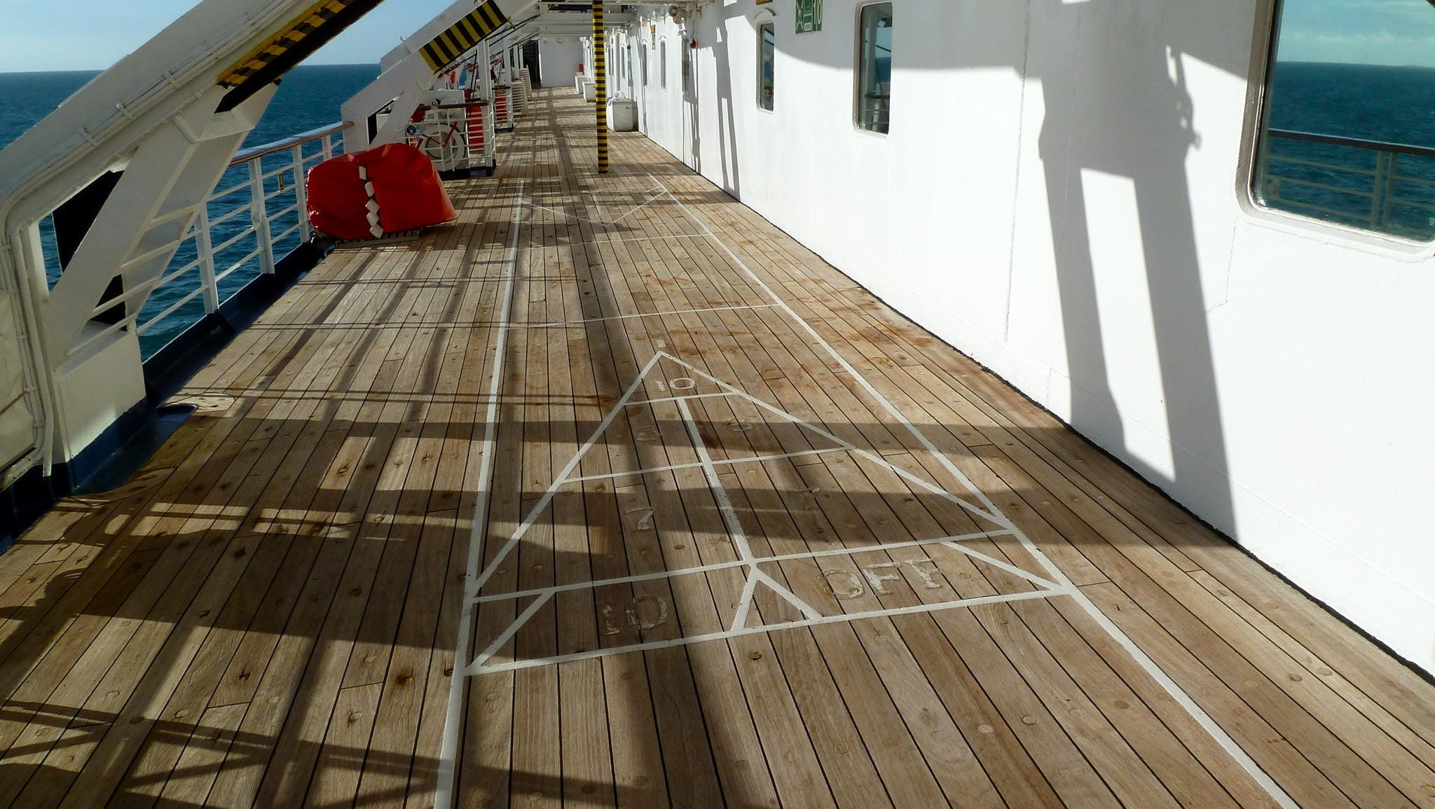 On Amundsen Deck, Marco Polo has inviting, open-air teak promenades under a canopy of lifeboats.