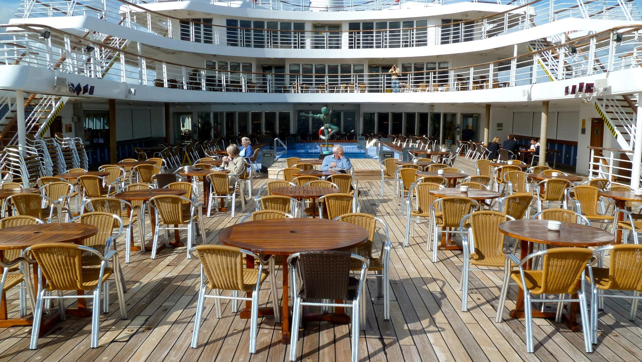 This is a view facing forward from beyond the pool area on the aft Magellan Deck lido.