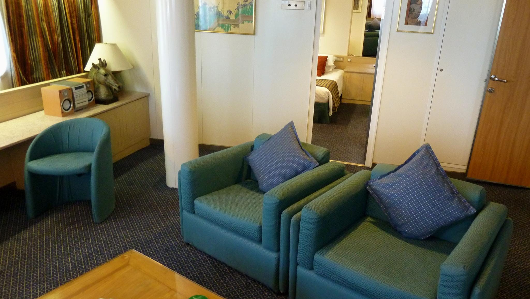 The Dynasty Suite is located on the starboard side of forward Columbus Deck.