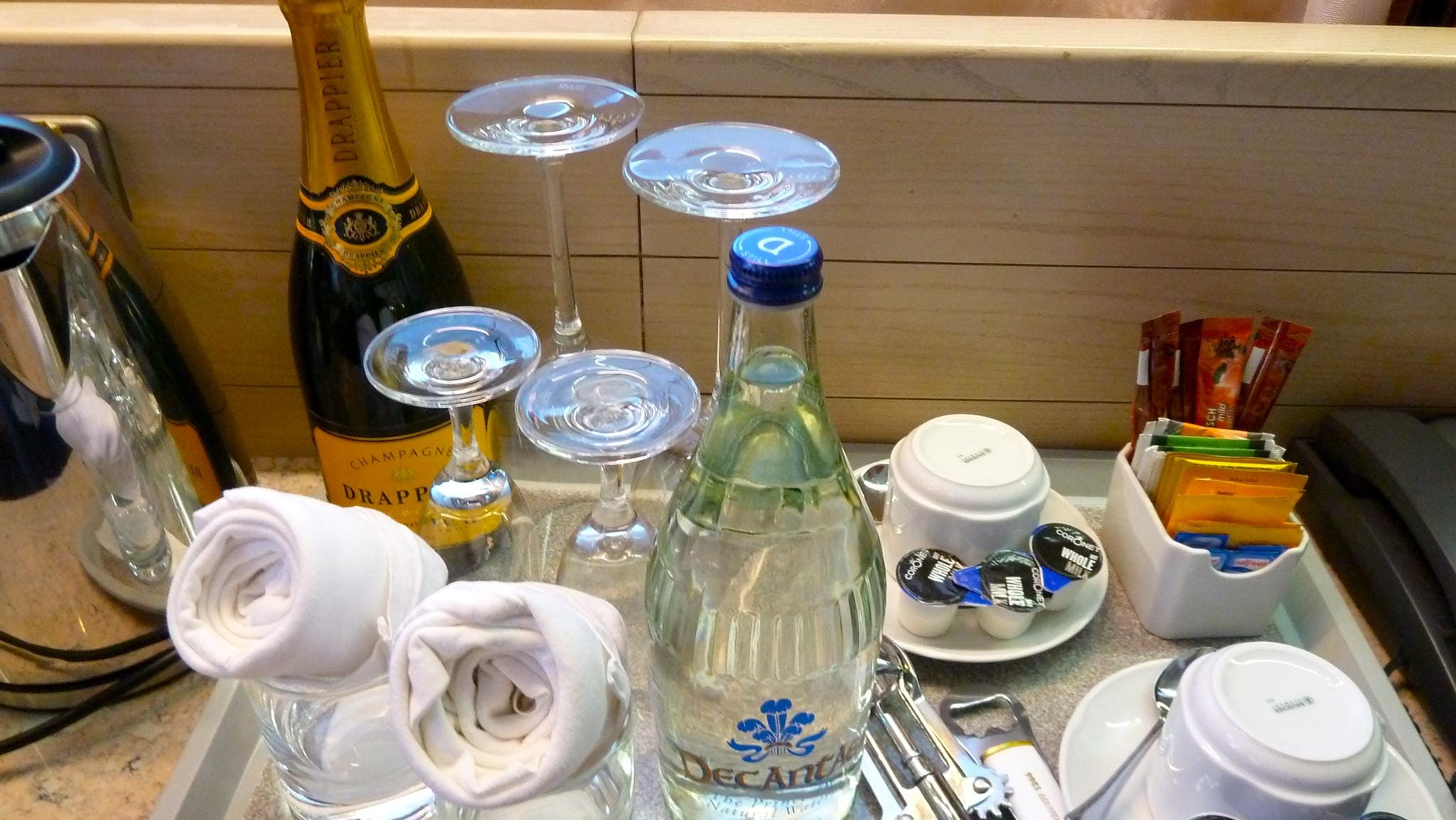 Suites are stocked with a welcome bottle of champagne, bottled water and a coffee/tea maker.