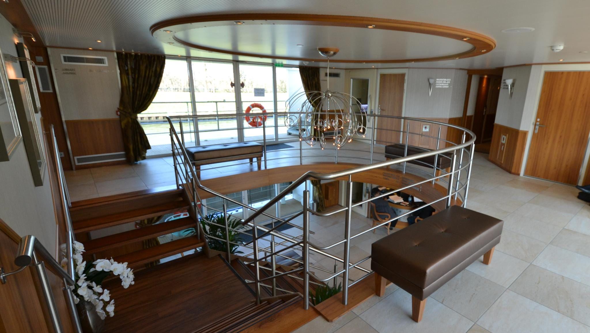 A view of the central lobby from the top passenger deck, called the Navigator Deck.