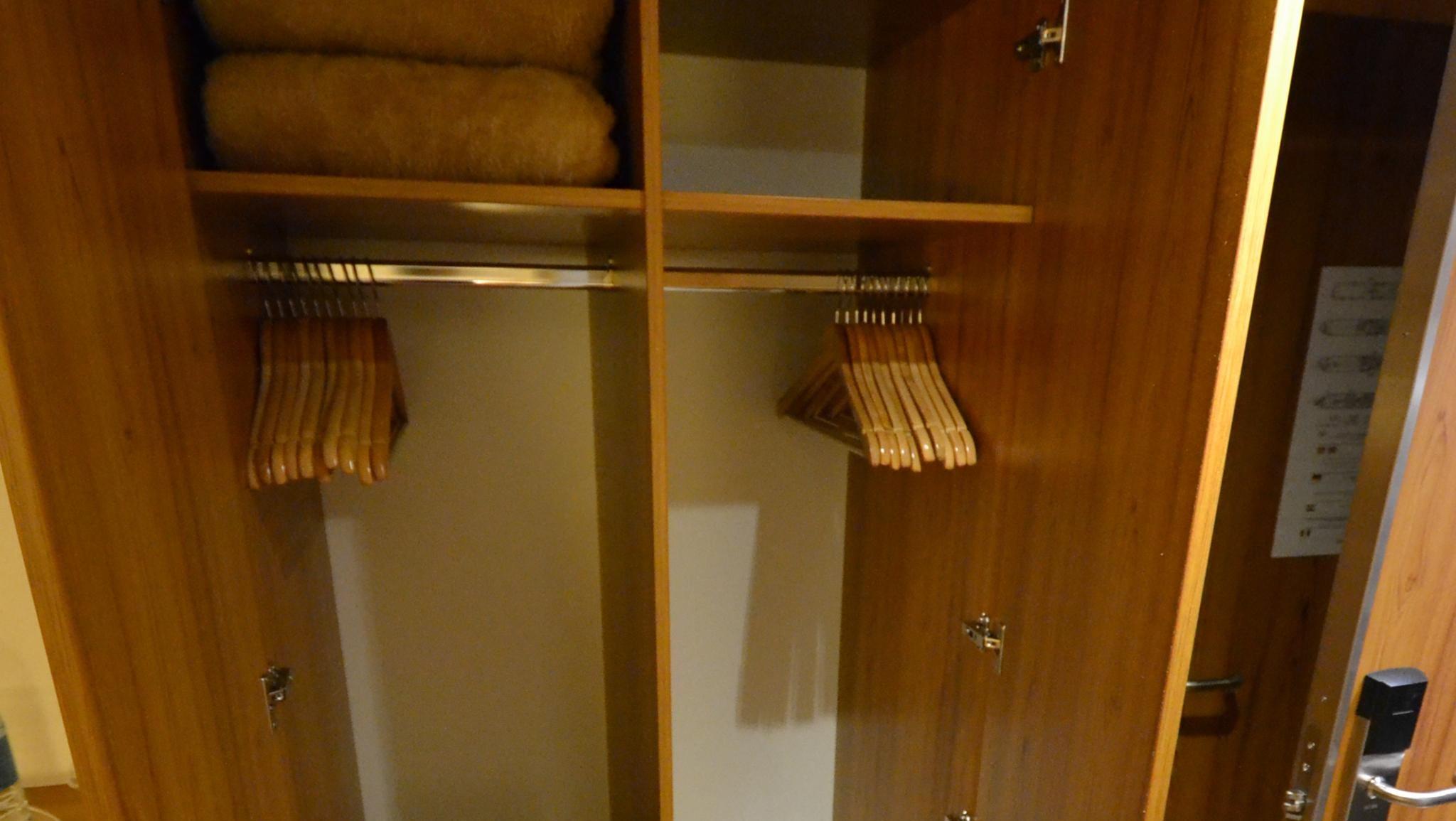 A look inside a standard cabin closet.