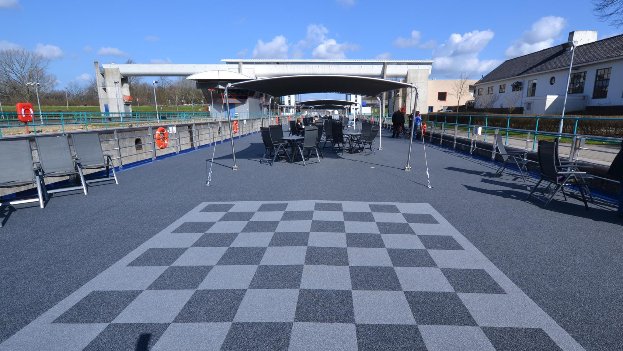 Also on the roof-top deck is an over-sized chess board.