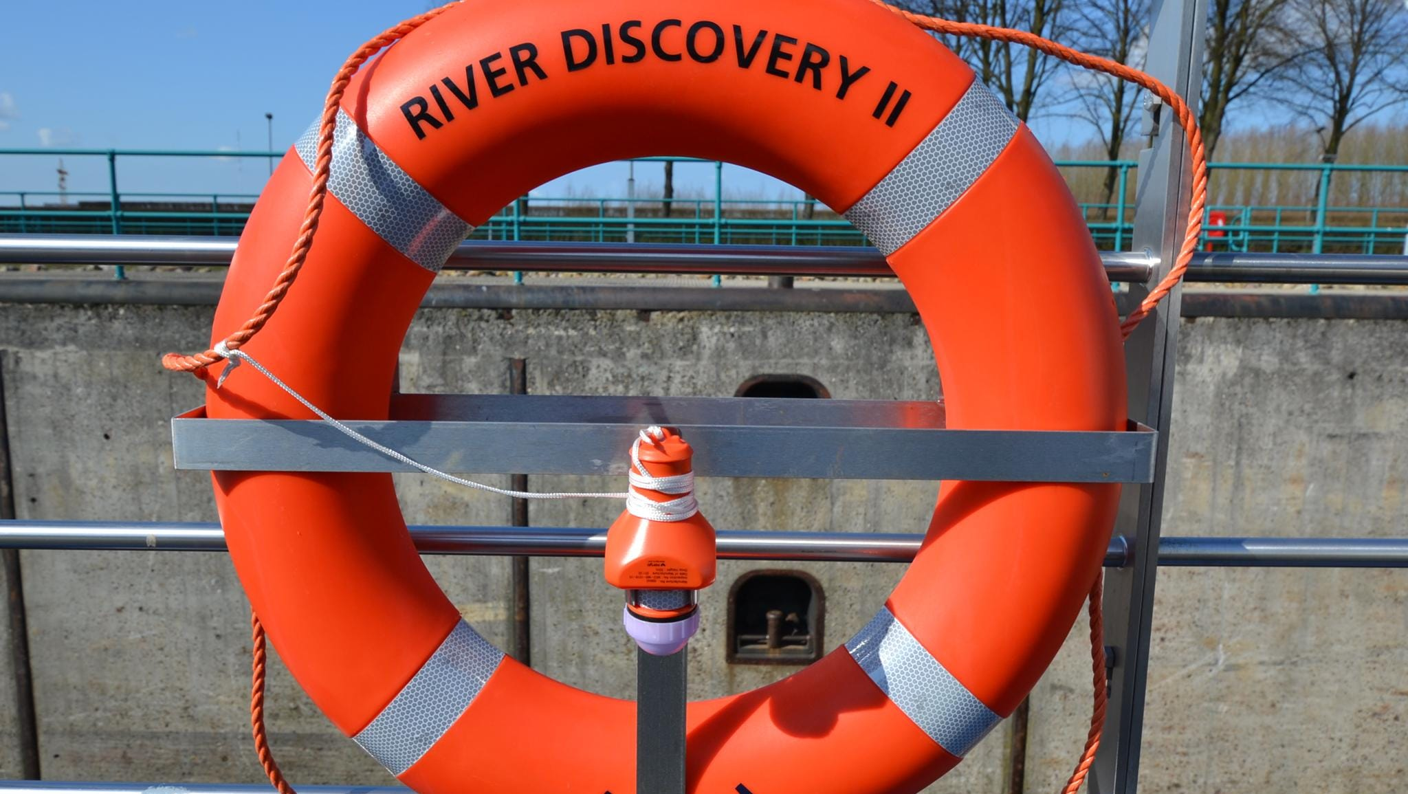 A buoy on the top deck of the ship.