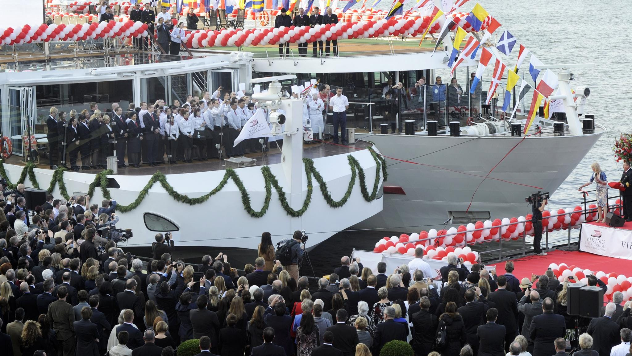 Shown here at its christening, the Viking Odin measures 135 meters long, the maximum length a vessel can be and still fit through the locks of Europe's central waterways. It has three passengers deck and 95 cabins.