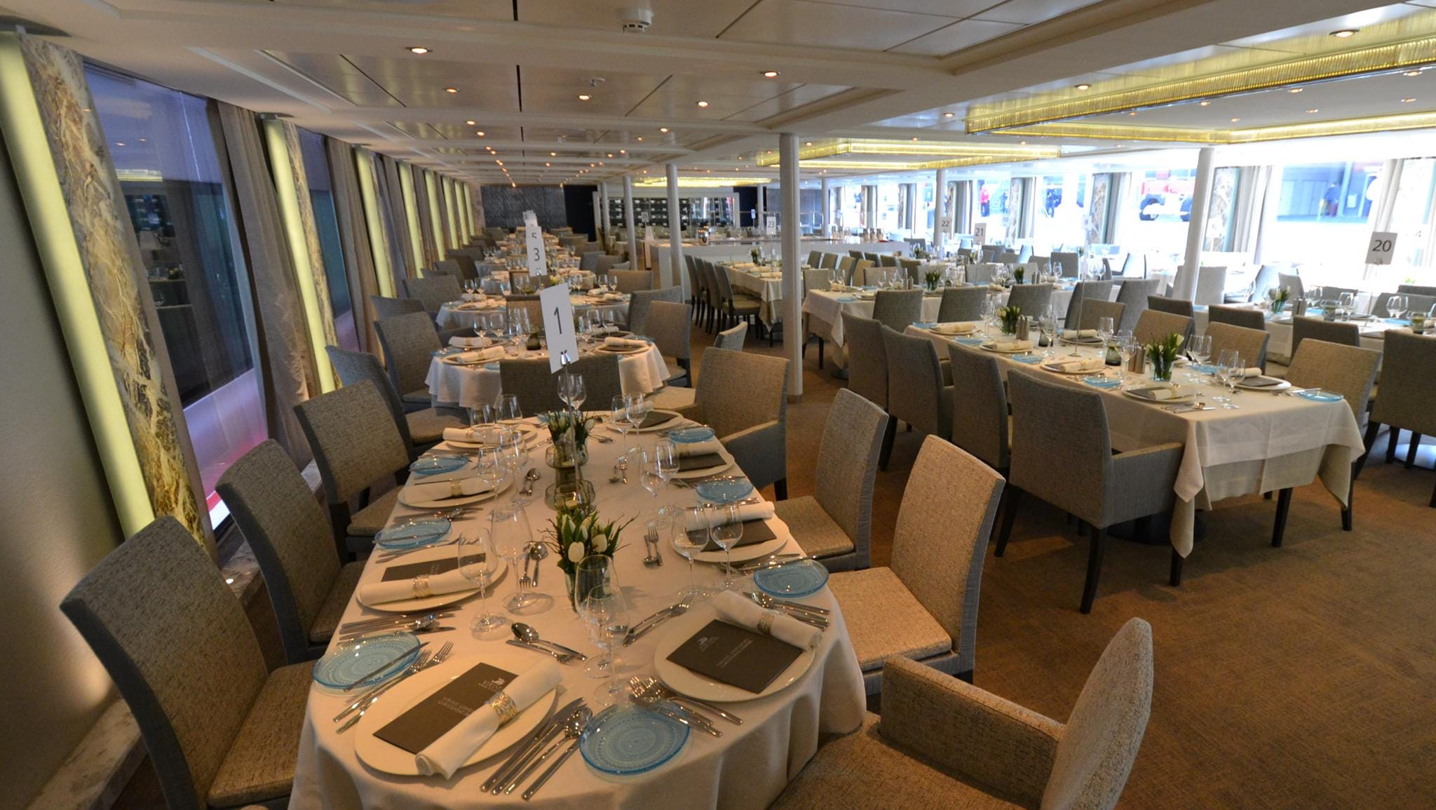 The Viking Odin's restaurant is big enough to serve all 190 passengers on board the vessel in a single seating each night. It's located at the front of the ship one deck below the Observation Lounge.