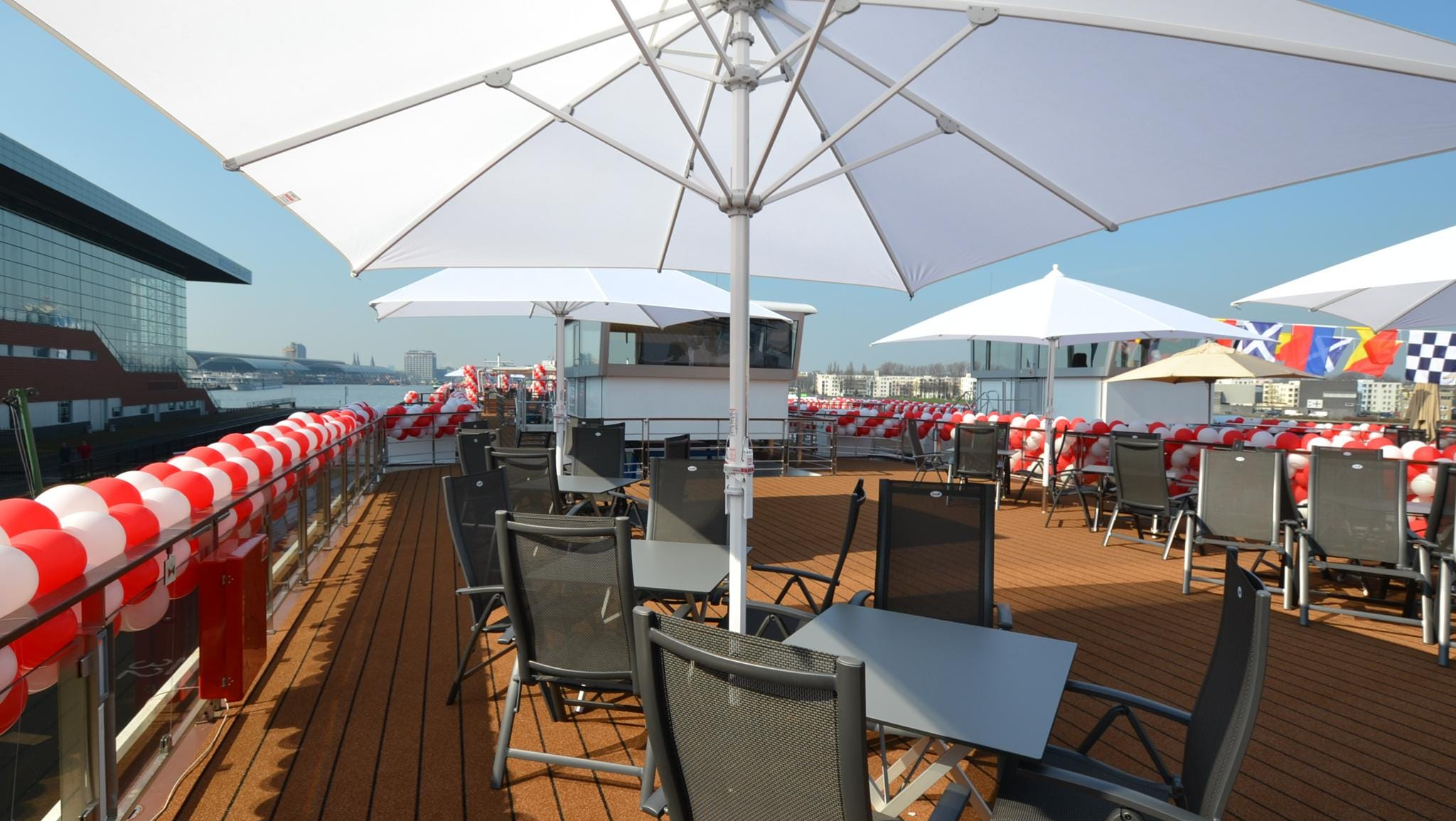 Called the Sun Deck, the outdoor rooftop deck of the Viking Odin offers sheltered lounge chairs and tables from where passengers can watch the passing scenery. A caveat: The Sun Deck is closed when the ship passes through regions with low bridges.