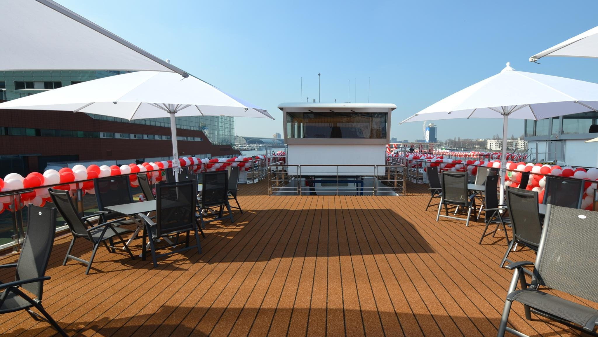 Another view of the Viking Odin's Sun Deck looking toward the ship's retractable pilot house.