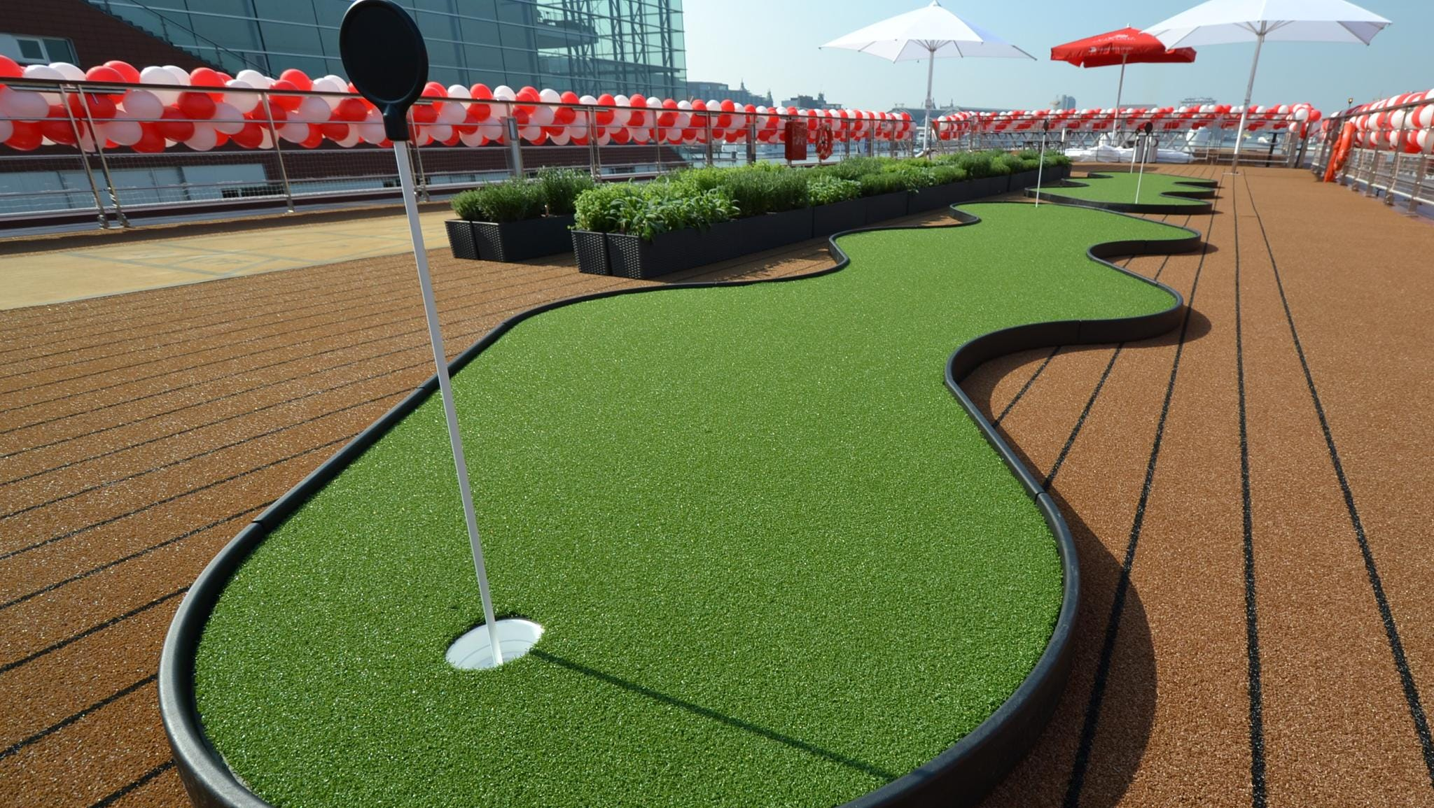 The Sun Deck also offers a putting green as well as a giant chess board and a shuffleboard court.