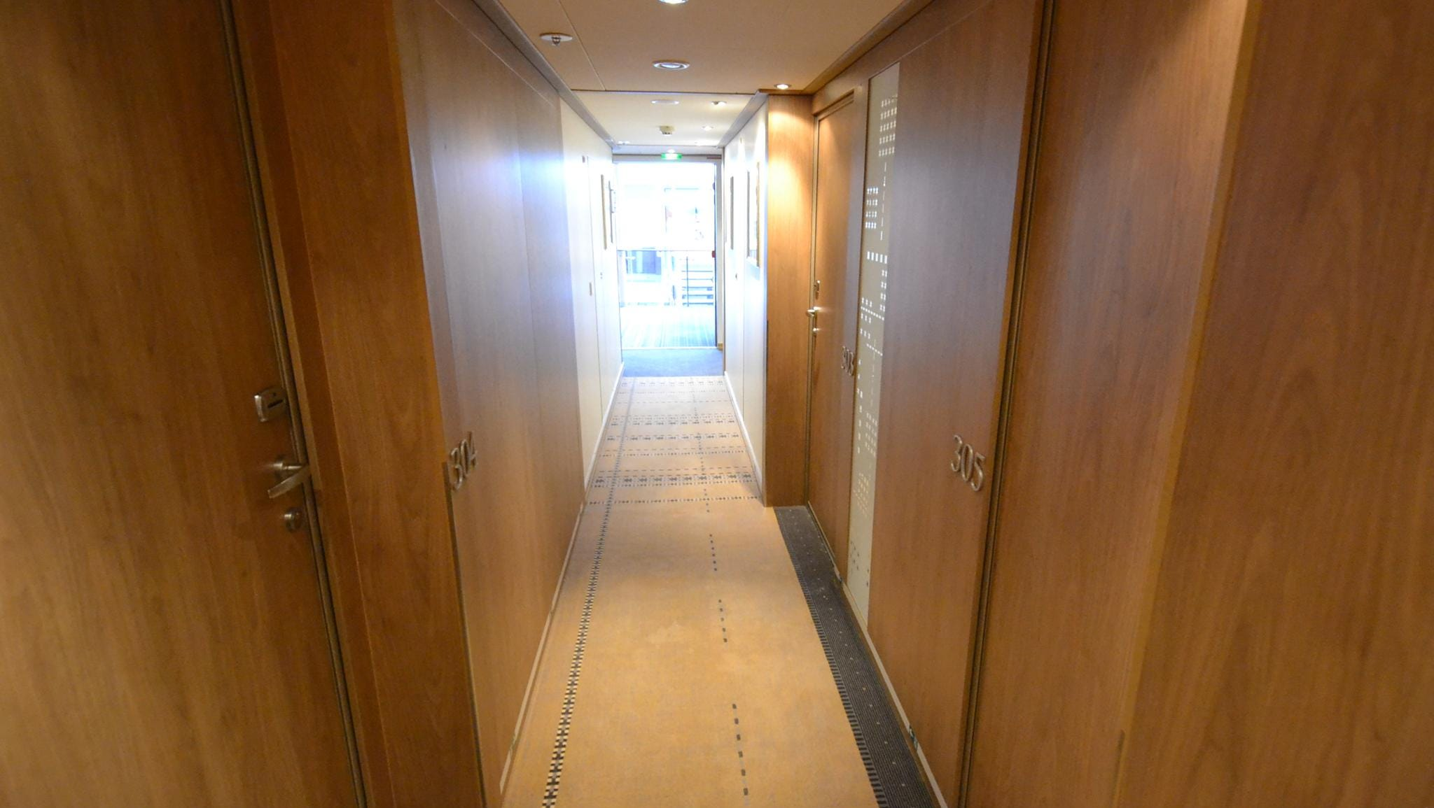 A corridor to cabins on the Viking Odin.