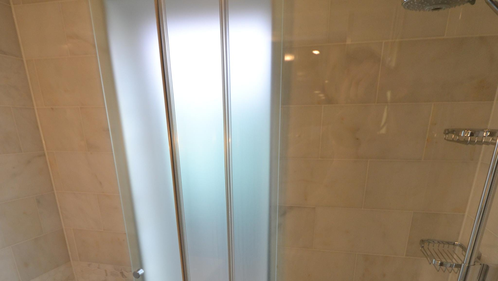 A close-up of an Explorer Suite shower.