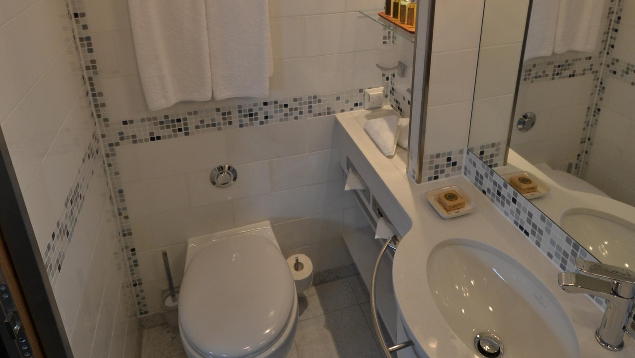 A Veranda Suite bathroom.