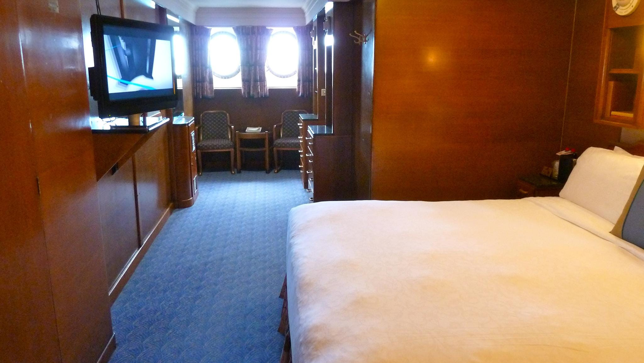 This is a slightly smaller original cabin-class stateroom on starboard A Deck.