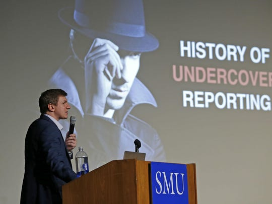 James O'Keefe of Project Veritas speaks at the Southern Methodist University campus in Dallas on Nov. 29.