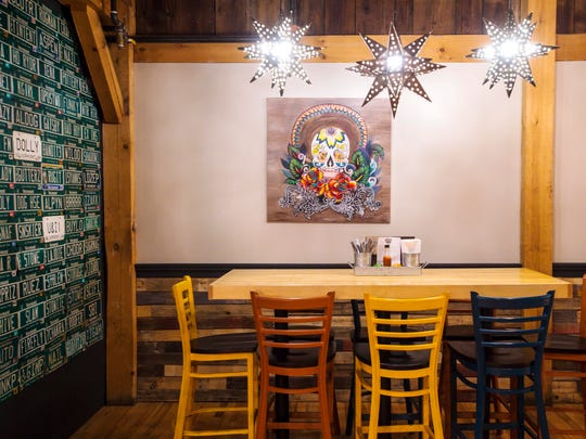 One of the dining areas at Tres Amigos Mexican restaurant