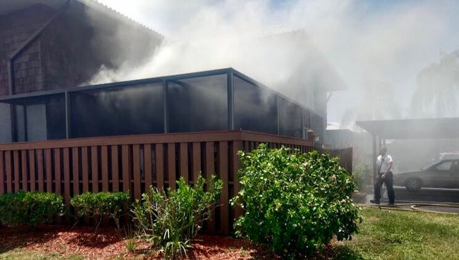 A home in Camelot Gardens caught fire Saturday morning