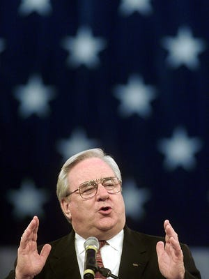 Rev. Jerry Falwell spoke to a Freedom Hall gathering during his 'God Save America' at the National Quartet Convention in 2000.-  -BY JAMES H. WALLACE, THE C-J ``In the past generation, America has almost lost her soul,'' the Rev. Jerry Falwell said yesterday.