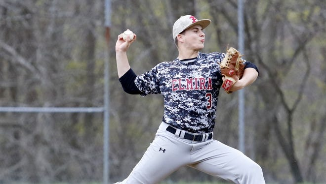 Zack Wood of Elmira delivers a pitch Thursday during a 1-0 victory over Maine-Endwell at Ernie Davis Academy.