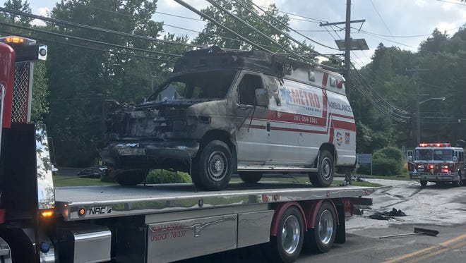 An ambulance was destroyed in a fire in Little Falls July 5, 2018.