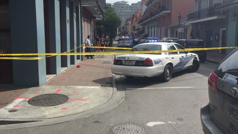 Police investigating a shooting in the French Quarter.