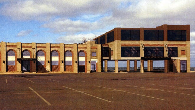 At a public meeting hosted by the Department of Natural Resources, this architectural rendering of a proposed renovated pavilion and conference center at Indiana Dunes State Park was on display. Parks officials have declined to provide a copy of the rendering to IndyStar, saying it is not a finished design and could give the wrong impression of the building's appearance.