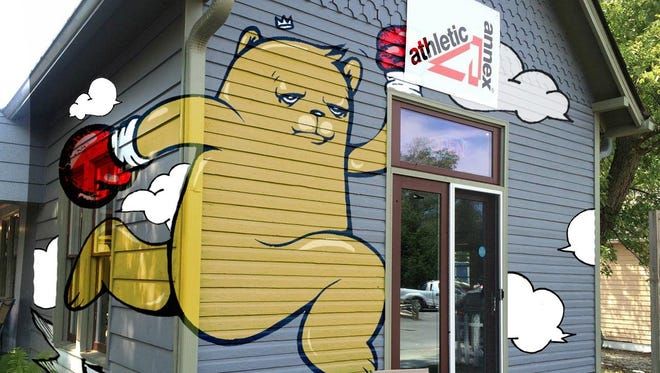 Chicago artist JC Rivera used a digital sketch of his mural for the Athletic Annex building in Broad Ripple before he began painting. It is hoped the mural will attract more visitors to the building, located near the Monon Trail.