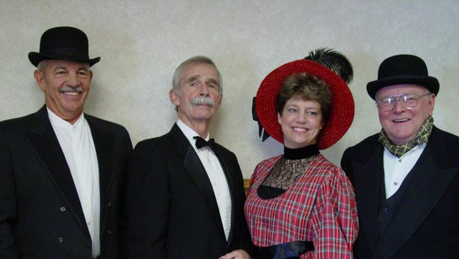 """From left, Preservation Players Bob """"Vinegar Jones"""" Milford; Bruce Cusker, aka Paris Gibson; Carol Bronson as Martha Edgerton Rolfe and Ken Robison as Herbert Percy Rolfe from their production """"How Great Falls REALLY Began."""""""