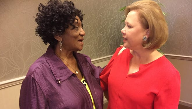 Billye Burns of West Monroe (left), chats with former Sen. Mary Landrieu at the Democratic National Convention in Philadelphia on Wednesday