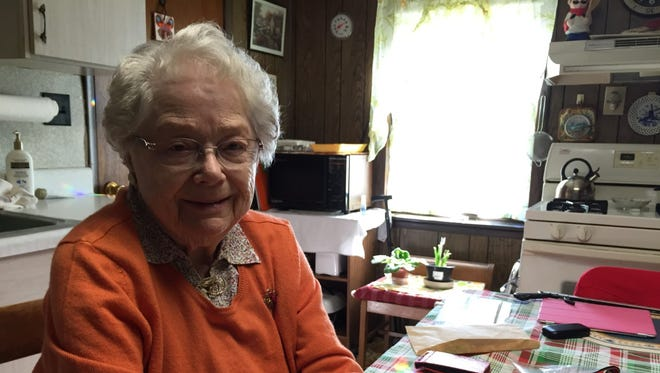 """Irmgard """"Jackie"""" Stieger-Johns talks about her journey from Nazi Germany to America in the kitchen of her Wrightsville home, where she has lived for 70 years."""