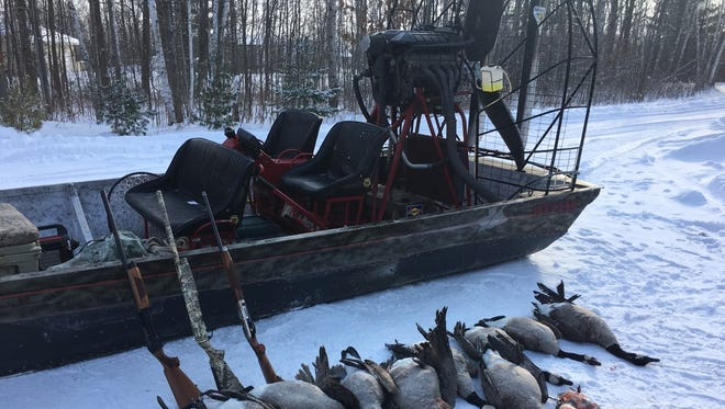 Waterfowl hunter Rod Rogus said it was his airboat that left a track on the Black River ice