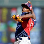 New York Yankees prospect Luis Severino pitches during the SiriusXM All-Star Futures Game on July 13, 2014 in Minneapolis.