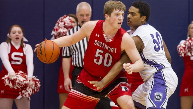Southport rising senior Joey Brunk (50), shown here in a sectional game against Ben Davis last March, will participate in the NBPA's Top 100 camp next week.