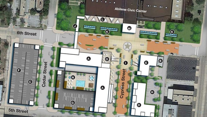 A map of downtown Abilene depicting the proposed layout for the convention hotel and surrounding festival district.
