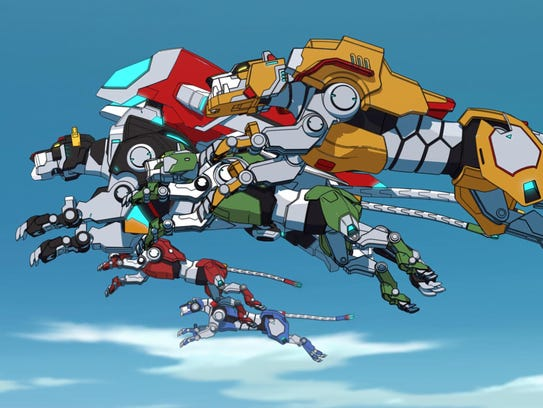 """The color-coordinated mechanized lions of """"Voltron"""