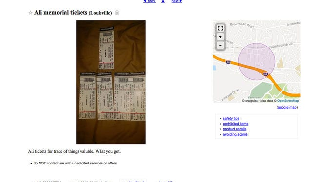 Tickets for sale on Craigslist.