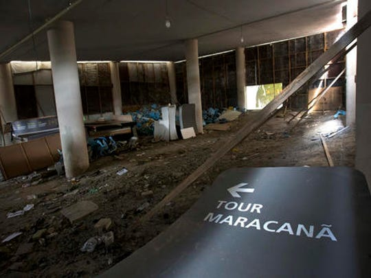 This Feb. 2, 2017 photo shows the inside of Maracana stadium in Rio de Janeiro, Brazil. The stadium was renovated for the 2014 World Cup at a cost of about $500 million, and largely abandoned after the Olympics and Paralympics, then hit by vandals who ripped out thousands of seats and stole televisions.