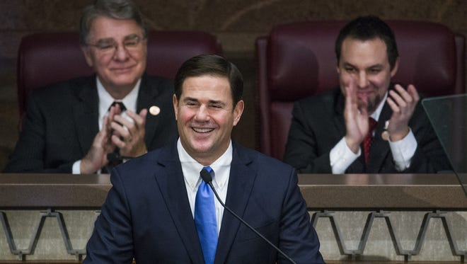 Gov. Doug Ducey stumped for Prop. 123, which gave schools 70 percent of what they were owed to settle a school funding lawsuit.