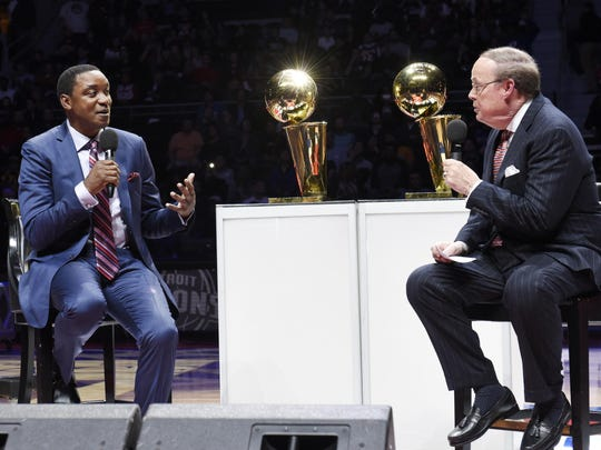 Isiah Thomas, left, and George Blaha talk about the