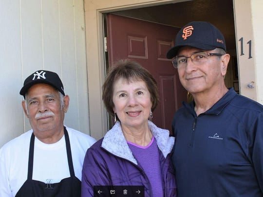 Fidel Campista, left, with Meals on Wheels Volunteers Barbara and Cecil Guerrero
