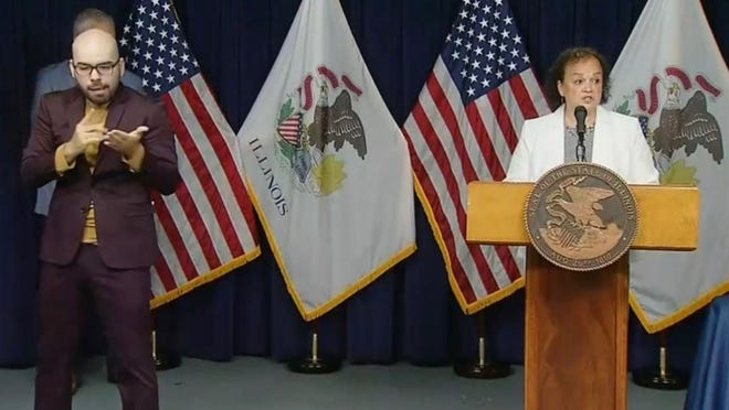 Illinois Education Superintendent Carmen Ayala talks about the reopening of Illinois schools to in-person instruction in the fall during a news conference Tuesday in Chicago.