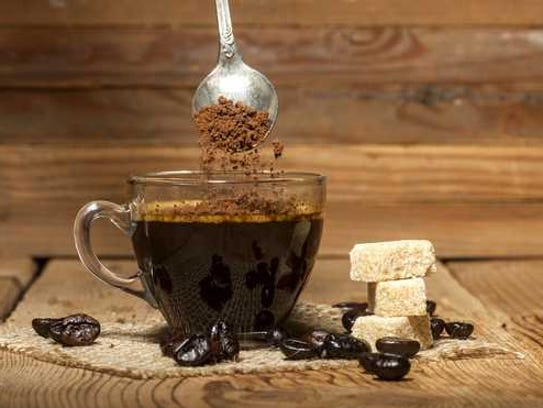 Instant coffee in a glass cup.