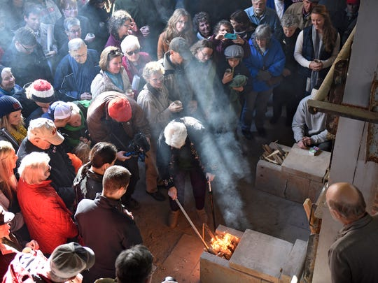The Johanna Kiln is lit during a ceremony Friday at