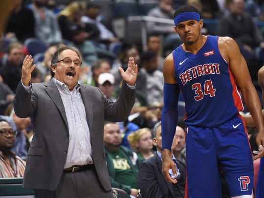 Pistons coach Stan Van Gundy reacts with forward Tobias Harris (34) in the second quarter of the Pistons' 107-103 exhibition loss on Friday, Oct. 13, 2017, in Milwaukee.