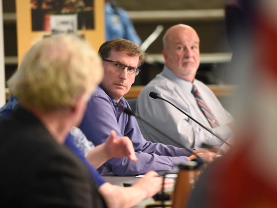 St. Cloud City Council members Jeff Johnson, left, and Jeff Goerger take part in the City Council meeting Oct. 23, 2017 in St. Cloud.