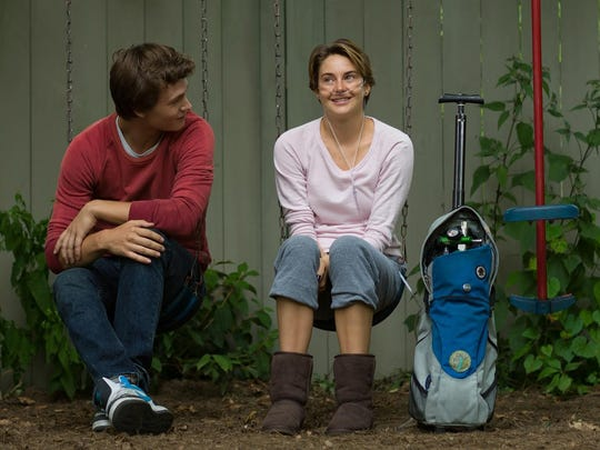 "Shailene Woodley, right, portrayed Hazel Grace Lancaster in the film ""The Fault in Our Stars."" Ansel Elgort, left, portrayed Augustus Waters."